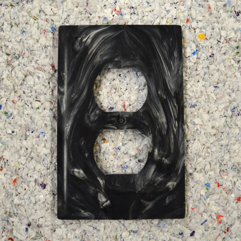 1 Gang Duplex Outlet Wall Cover Plate – Black Marble